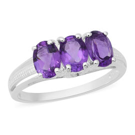 Amethyst (Ovl 7x5mm) Three Stone Ring in Sterling Silver 2.13 Ct.