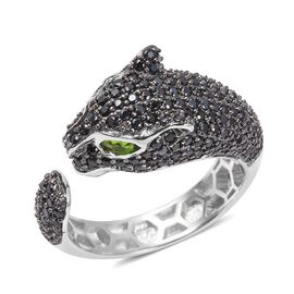 Super Auction- Boi Ploi Black Spinel (Rnd), Russian Diopside Black Panther Ring in Rhodium and Black Overlay Sterling Silver 1.200 Ct.