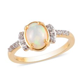 Ethiopian Welo Opal and Natural Cambodian Zircon Ring in 14K Gold Overlay Sterling Silver 0.95 Ct.