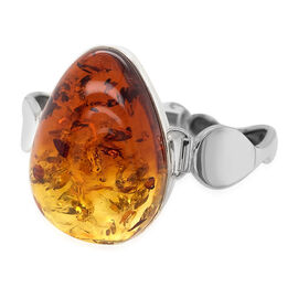 Natural Baltic Amber Bangle (Size 7) in Sterling Silver ,Silver wt 24.8 Gms