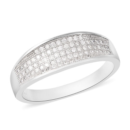 ELANZA Simulated Diamond Cluster Ring in Rhodium Plated Sterling Silver