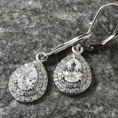 J Francis- Platinum Overlay Sterling Silver (Pear and Rnd) Lever Back Earrings Made with SWAROVSKI ZIRCONIA