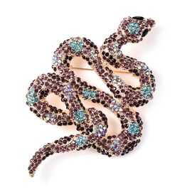 Simulated Black Spinel and Multicolour Austrian Crystal Snake Brooch in Gold Tone