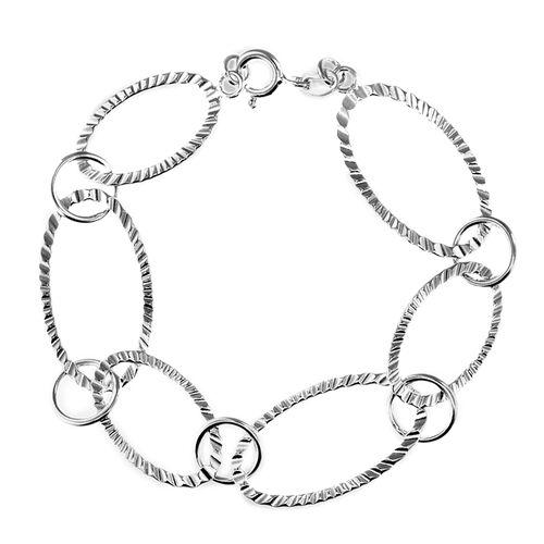 Sterling Silver Oval Crinkle Bracelet (Size 7.5), Sliver Wt. 7.40 Gms
