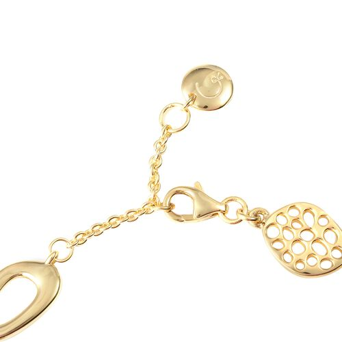 Super Auction - RACHEL GALLEY Yellow Gold Plated Sterling Silver Boroque Pebble Bracelet (Size 7.5 to 8), Silver wt 13.52 Gms