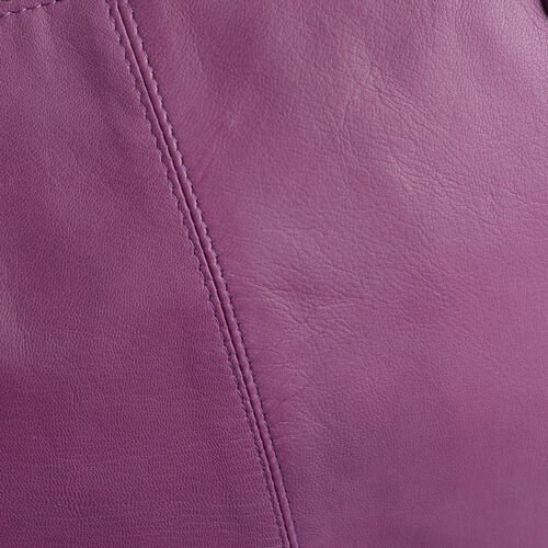 Genuine Leather RFID Blocker Purple Colour Shoulder Bag with External Zipper Pocket (Size 37X24X11 Cm)