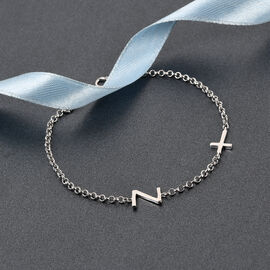 Personalise Single Alphabet + Cross, Name Bracelet in Silver, Size - 7.5 Inch