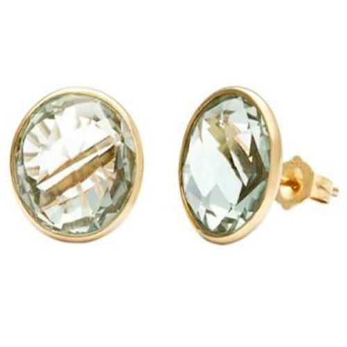 Green Amethyst (Rnd) Earrings in 14K Gold Overlay Sterling Silver   5.500 Ct.