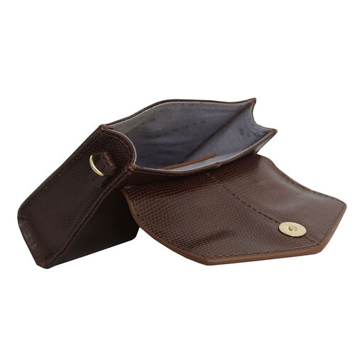 Assots London KYLIE Lizard Textured Genuine Leather Grab Bag (Size 13x2.5x10 Cm)  - Brown