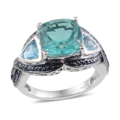 Paraiba Quartz (Cush 4.25 Ct), Blue Topaz and Blue Diamond Ring in Platinum Overlay Sterling Silver 5.260 Ct.