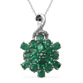 AAA Kagem Zambian Emerald (Ovl and Rnd), Diamond Cluster Pendant with Chain (Size 18 with 1.5 inch E
