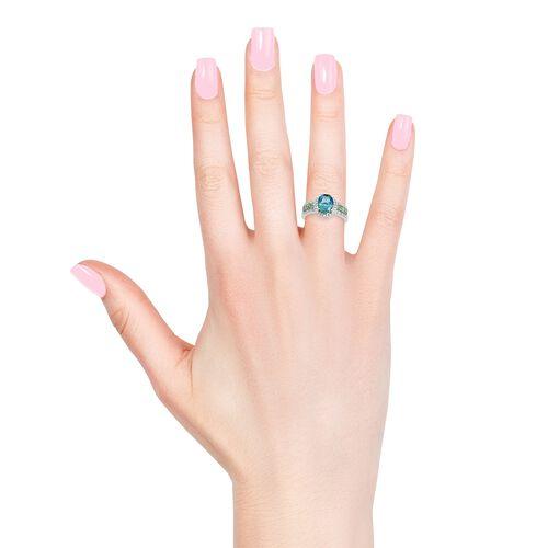 Peacock Quartz (Ovl 2.75 Ct), Natural Cambodian Zircon and Tsavorite Garnet Ring in Platinum Overlay Sterling Silver 3.750 Ct.