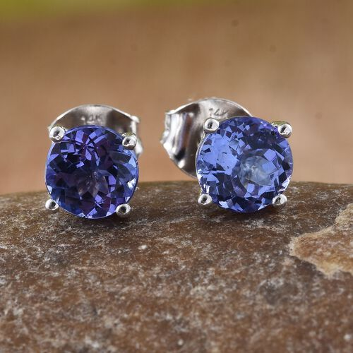New York Close Out-14K White Gold AAA Tanzanite (Rnd) Stud Earrings (with Push Back) 1.750 Ct.