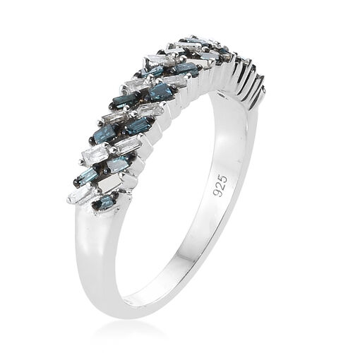 Blue and White Diamond (Bgt) Band Ring in Platinum Overlay with Blue Plating Sterling Silver 0.330 Ct.