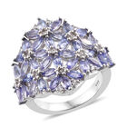 Tanzanite (Mrq), Natural Cambodian Zircon Cluster Ring (Size O) in Platinum Overlay Sterling Silver 3.500 Ct,