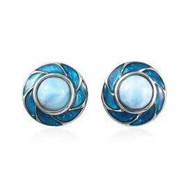 Larimar Enamelled Stud Earrings in Platinum Overlay Sterling Silver 3.00 Ct.