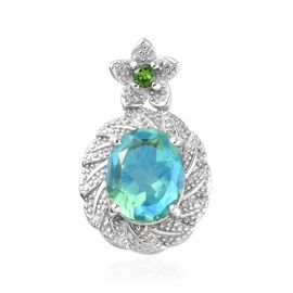 Peacock Quartz (Ovl 12x10mm), Russian Diopside Pendant in Platinum Overlay Sterling Silver 5.65 Ct.