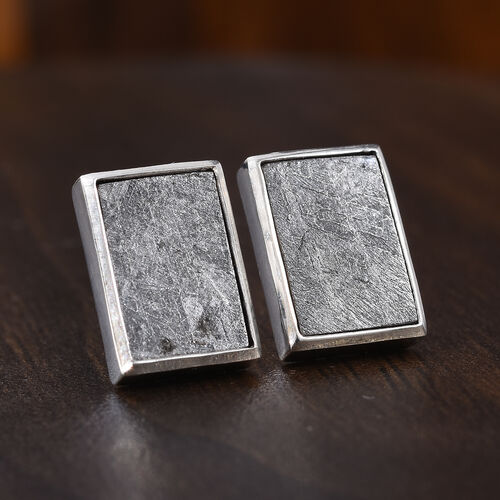 Tucson Special - Meteorite (Bgt) Stud Earrings (with Push Back) in Platinum Overlay Sterling Silver 20.00 Ct.