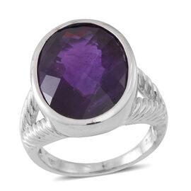 Very Rare Size Zambian Amethyst (Ovl) Ring in Rhodium Plated Sterling Silver 15.750 Ct. Silver wt. 9