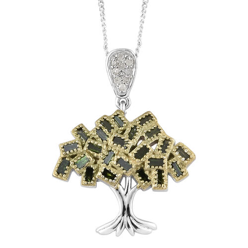 Green Diamond (Bgt), White Diamond Tree of Life Pendant with Chain in Platinum Overlay Sterling Silv