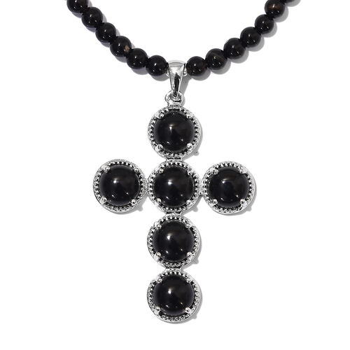 73.50 Ct Black Onyx and Black Agate Beaded Cross Pendant with Beads Chain in Platinum Plated