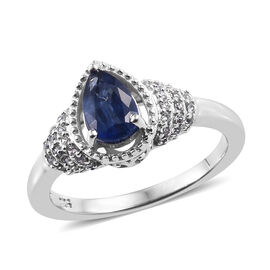 Kashmir Blue Kyanite (Pear), Natural Cambodian Zircon Ring in Platinum Overlay Sterling Silver 1.230