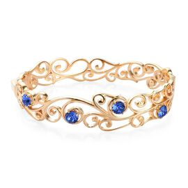 J Francis Sapphire Colour Crystal from Swarovski Floral Vine Bangle in 18K Gold Plated 7.5 Inch