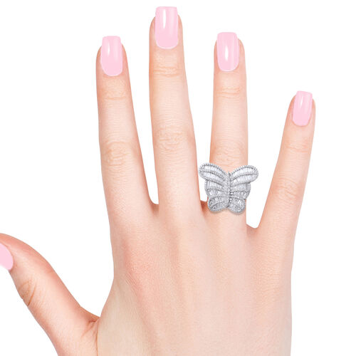 Designer Inspired-ELANZA Simulated Diamond (Bgt) Sterling Silver Butterfly Ring