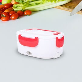 Portable Electric Heating Lunch Box in White & Red (Size:23.5x16.5x10.5cm)