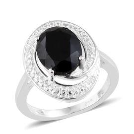 Boi Ploi Black Spinel (Ovl), Diamond Ring in Sterling Silver 3.004 Ct.
