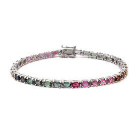 8.18 Ct Multi Tourmaline Tennis Bracelet in Rhodium Plated Silver 8.76 Grams 7.5 Inch