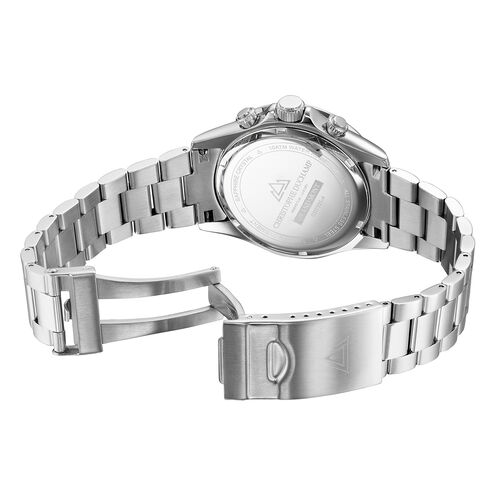 Christophe Duchamp Grand Mont Silver Watch with Dark Blue Dial in Stainless Steel