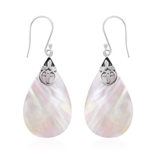 Royal Bali Collection Mother of Pearl Drop Drop Solitaire Earrings in Sterling Silver