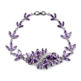 Simulated Amethyst Floral Bracelet in Silver Tone Size 7 Inch