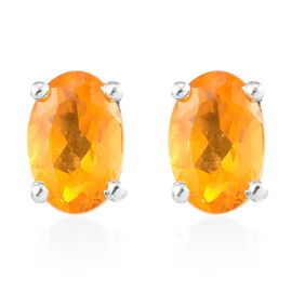 Customer Appreciation Day Jalisco Fire Opal (Ovl) Stud Earrings (with Push Back) in Platinum Overlay