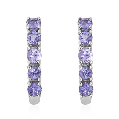 Tanzanite (Rnd) Hoop Earrings (with Clasp) in Platinum Overlay Sterling Silver 1.050 Ct.