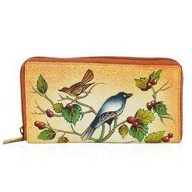 SUKRITI PERIMER Super Soft Genuine Leather Handprint RFID Protected Bird Wallet (Size 18.5x10.52 Cm)