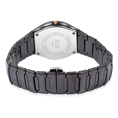 EON 1962 Swiss Movement 3ATM Water Resistant Studded Simulated Diamond Watch with  Black Ceramic Strap
