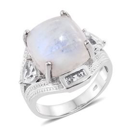 15.25 Ct Sri Lankan Rainbow Moonstone and White Topaz Trilogy Design Ring in Platinum Plated Silver