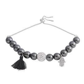 Designer Inspired - Hematite (Rnd), Natural Crystal Quartz Adjustable Bracelet (Size 6.5 - 10) with Charm in Silver Plated 121.000 Ct.