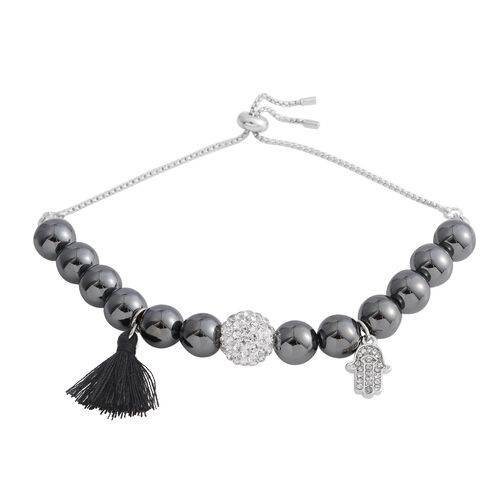 Designer Inspired - Hematite (Rnd), Natural Crystal Quartz Adjustable Bracelet (Size 6.5 - 10) with Charm in Silver Plated 121.000 Ct.