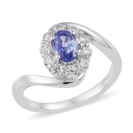 Tanzanite (Ovl), Natural Cambodian Zircon Ring in Platinum Overlay Sterling Silver 1.25 Ct.