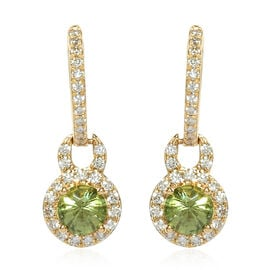 ILIANA 1.45 Ct AAA Russian Demantoid Garnet and Diamond Drop Earrings in 18K Gold 3.60 Grams SI GH