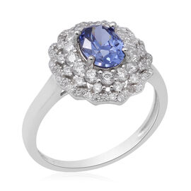 ELANZA Simulated Tanzanite and Simulated Diamond Halo Ring in Rhodium Overlay Sterling Silver