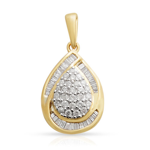 9K Yellow Gold Diamond (Rnd and Bgt) (I3/G-H) Tear Drop Pendant 0.500 Ct