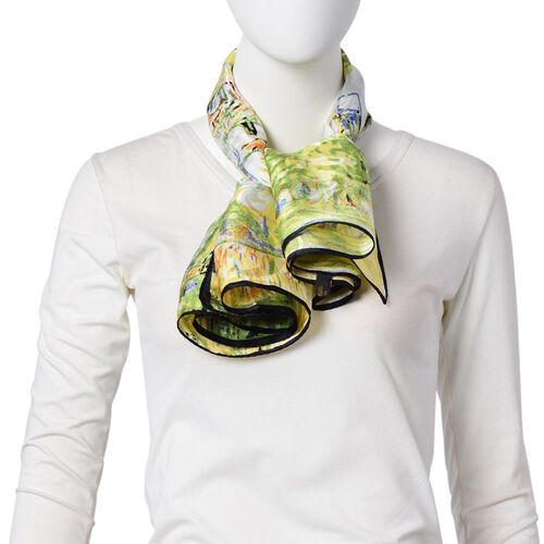 One Time Deal-Designer Inspired - 100% Mulberry Silk Green, Yellow and Multi Colour Landscape Patter