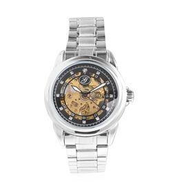 GENOA Automatic Skeleton Water Resistant White Austrian Crystal Studded Watch with Stainless Steel S