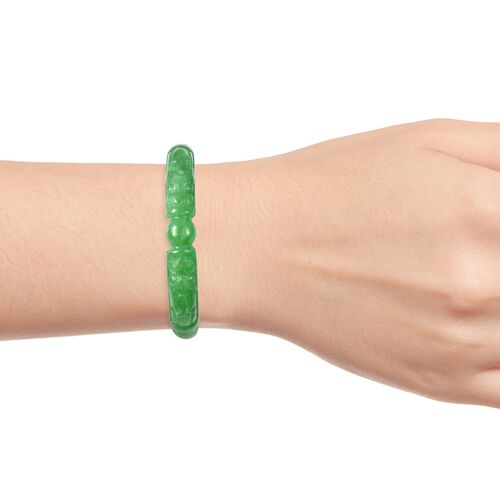 Carved Green Jade Dragon Bangle (Size 7.25) 260.00 Ct.