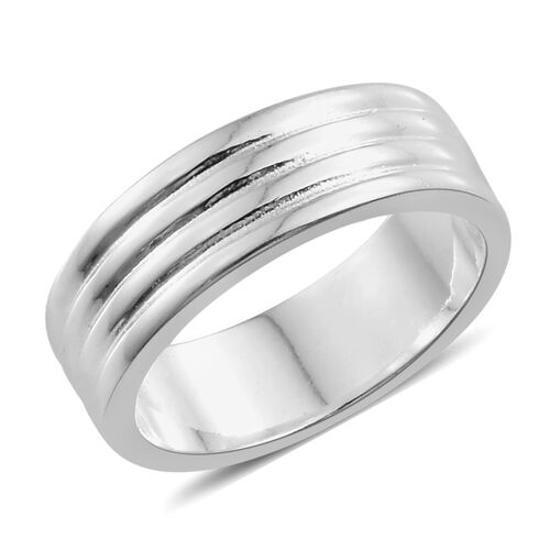 Sterling Silver Grooved Ring, Silver wt 5.10 Gms.
