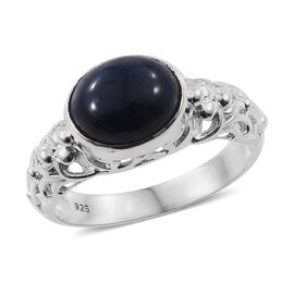 Handmade Blue Sapphire (Ovl) Ring (Size O) in Sterling Silver 5.640 Ct, Silver wt 4.47 Gms